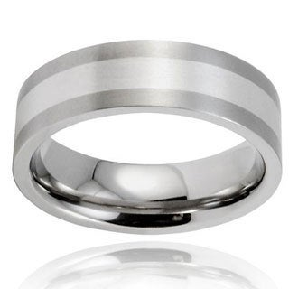 West Coast Jewelry Men's Brushed Titanium Sterling Silver Inlay Ring (7 mm)