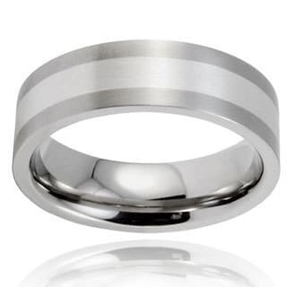 Men's Brushed Titanium Sterling Silver Inlay Ring (7 mm)