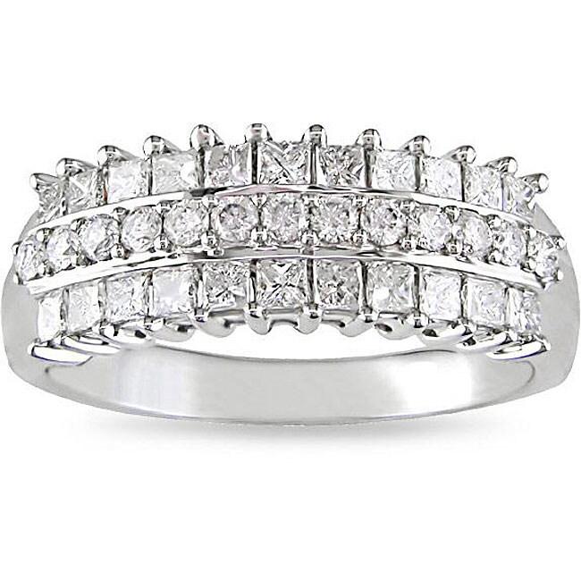 Miadora 14k White Gold 7/8ct TDW Pave Multi Row Diamond Ring (H-I, I2-I3)