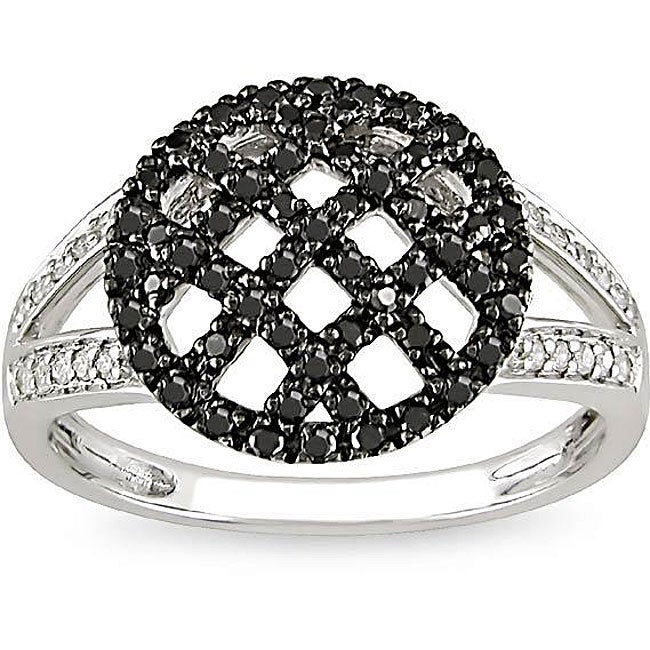 Miadora 10k Gold 1/3ct TDW Black and White Diamond Ring (H-I, I2-I3)