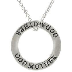 Journee Collection Sterling Silver 'God Mother' Affirmation Necklace
