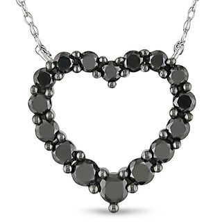 Miadora 10k Gold 1ct TDW Black Diamond Heart Necklace