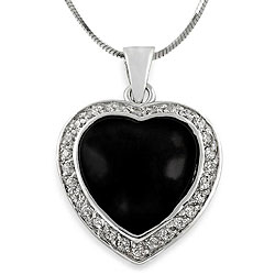 Journee Sterling Silver Black Onyx and Cubic Zirconia Heart Necklace