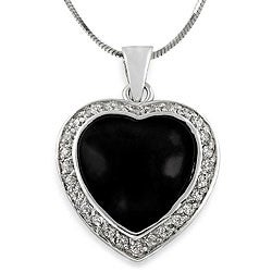 Tressa Sterling Silver Black Onyx and Cubic Zirconia Heart Necklace
