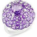 Miadora Sterling Silver Amethyst Dome Fashion Ring