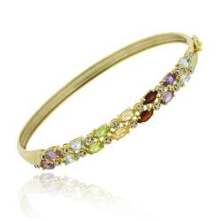 Glitzy Rocks 18k Gold over Sterling Silver Multi-gemstone and Diamond Bracelet