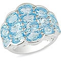 Miadora Sterling Silver Diamond-pattern Blue Topaz Ring