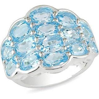 M by Miadora Sterling Silver Diamond-pattern Blue Topaz Ring