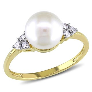 Miadora 10k Yellow Gold Pearl and 1/8ct TDW Diamond Ring (7.5-8 mm) (H-I, I2-I3)