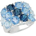 Miadora Sterling Silver Multi-row Blue Topaz Fashion Ring