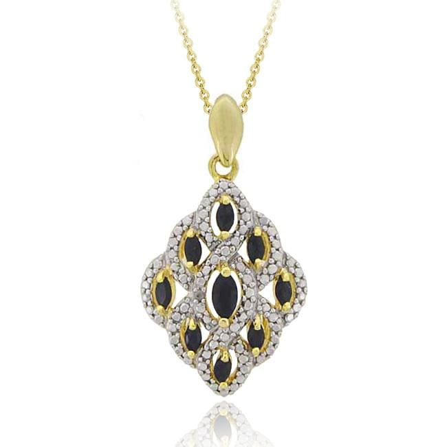 Glitzy Rocks 18k Gold over Sterling Silver Sapphire and Diamond Necklace