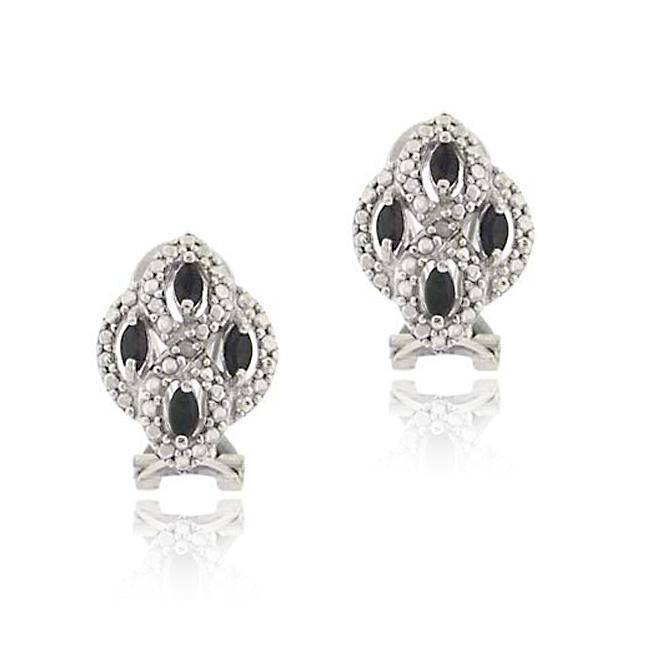 Glitzy Rocks Sterling Silver Sapphire and Diamond Earrings