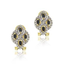 Glitzy Rocks 18k Gold over Sterling Silver Sapphire and Diamond Earrings
