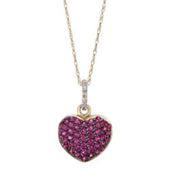 10k Yellow Gold Ruby and Diamond Accent Heart Necklace