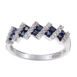 14k White Gold Sapphire and 1/6ct TDW Diamond Ring (H-I, I2)