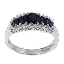 14k White Gold Sapphire and 1/5ct TDW Diamond Ring (H-I, I2)