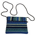 Blue-striped 'San Juan' Woven Zippered Weekend Bag (Guatemala)