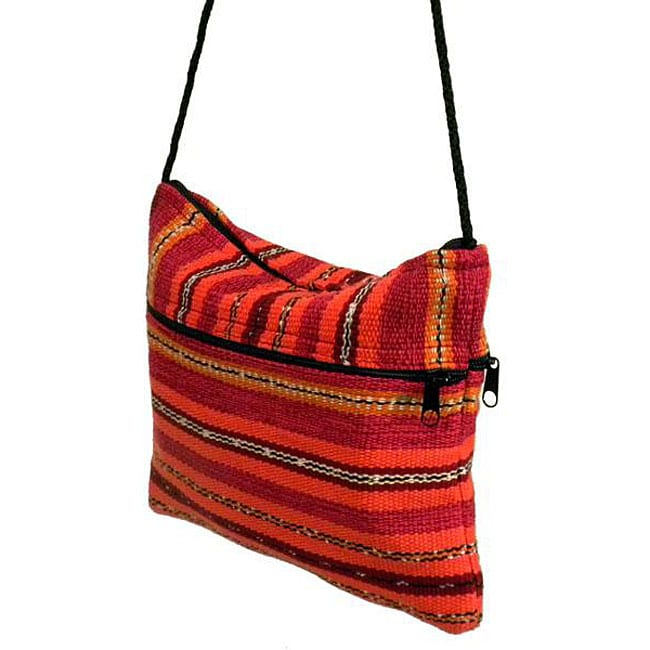 San Juan Pumpkin-color Zippered Weekend Bag (Handmade in Guatemala)