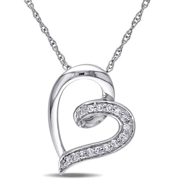 Miadora 10k White Gold Diamond Heart Necklace (H-I, I2-I3)