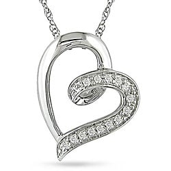 Miadora 10k White Gold Diamond Heart Necklace (H-I, I2-I3)