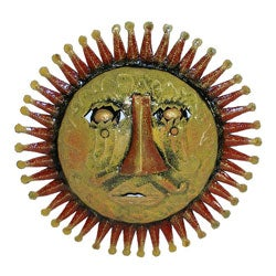 Red 3D Sun Face Oil Drum Art (Haiti)
