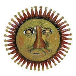 Red 3D Sun Face Oil Drum Art (Haiti)