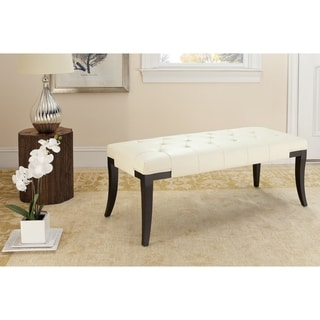 Safavieh Tyler Bicast Leather Off-white Bench