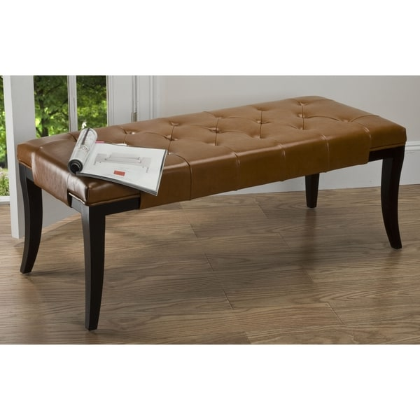 Safavieh Tyler Bicast Leather Saddle Bench
