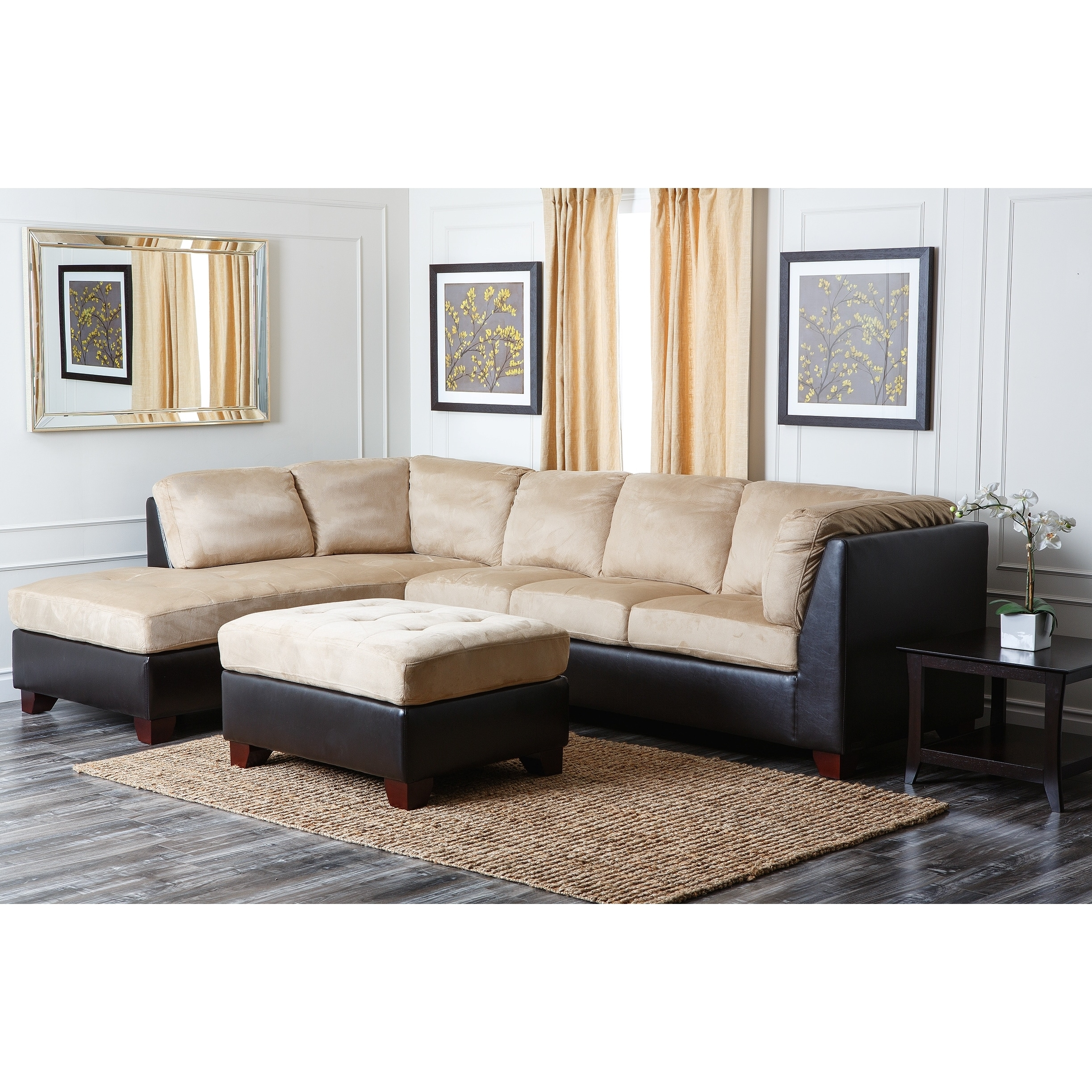 abbyson living charlotte beige sectional sofa and ottoman overstock