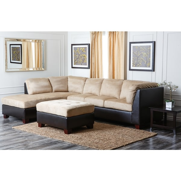 abbyson living charlotte beige sectional sofa and ottoman 12613226