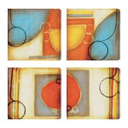 DeRosier 'Blue and Orange I-IV' Giclee Canvas Artwork (Set of 4)