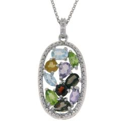 Sterling Silver Multi-gemstone and Diamond Accent Oval Necklace