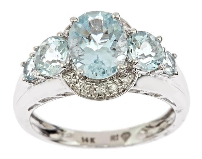 D'Yach 14k White Gold Aquamarine and Diamond Accent Ring