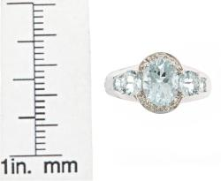 D'Yach 14k White Gold Aquamarine and Diamond Accent Ring