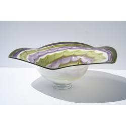 Hand-blown Swirled Color Glass Dish