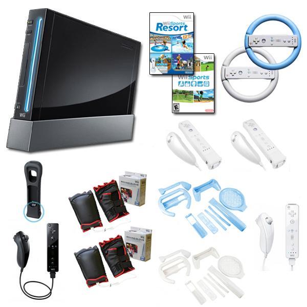 Nintendo Wii (Black) Friends Bundle 2 Steering Wheels, 2 Remotes, 2