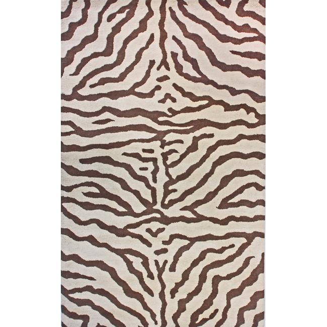 NuLOOM Zebra Animal Pattern Brown/ Beige Wool Rug (6' X 9