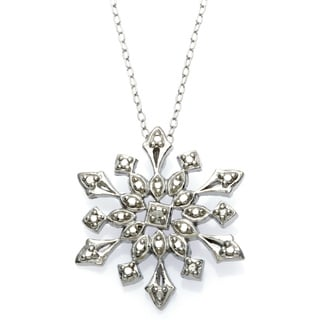 DB Designs Sterling Silver Diamond Accent Snowflake Necklace