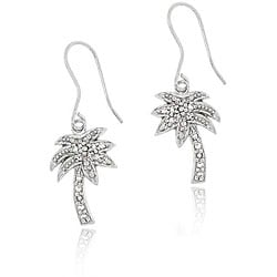 Icz Stonez Sterling Silver Cubic Zirconia Palm Tree Earrings
