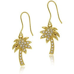 Icz Stonez 18k Gold over Sterling Silver Cubic Zirconia Palm Tree Earrings