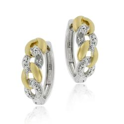 DB Designs Two-tone Sterling Silver Diamond Accent Hoop Earrings