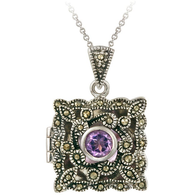 Glitzy Rocks Sterling Silver Amethyst and Marcasite Locket Necklace