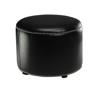 Safavieh Florentine Black Bicast Leather Round Ottoman
