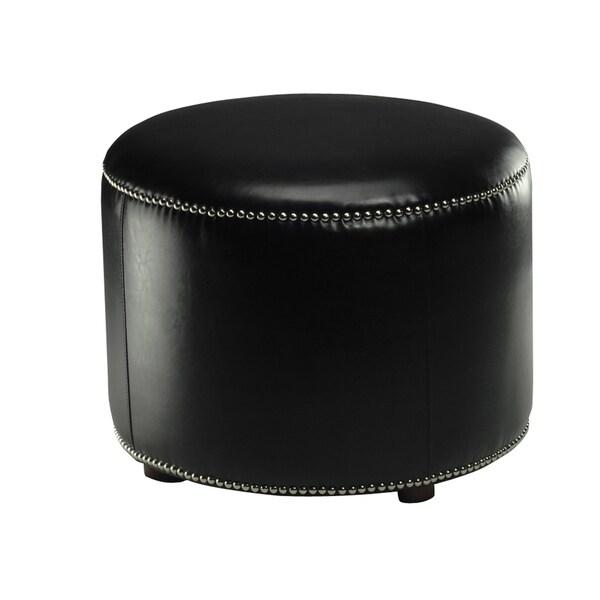 Safavieh Florentine Storage Black Bicast Leather Round Ottoman