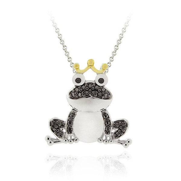 DB Designs Sterling Silver and 18k Goldplated Black Diamond Accent Frog Necklace