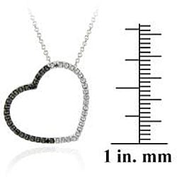 DB Designs Sterling Silver Black Diamond Accent Open Heart Necklace