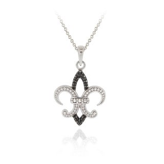 DB Designs Sterling Silver Black Diamond Accent Fleur de Lis Necklace