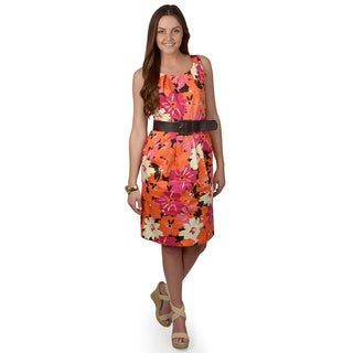 Sangria Women's Floral Print Sleeveless Sheath Dress