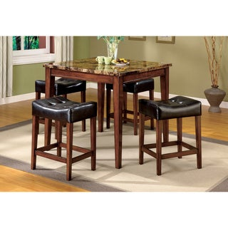 Furniture of America Constantini Faux Marble Top 5-piece Pub Set