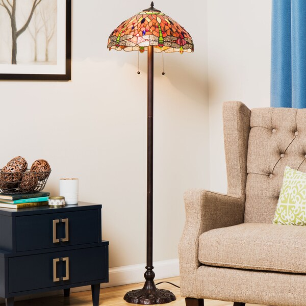 Tiffany-style Dragonfly Floor Lamp
